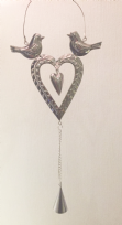 Heart Decoration with Birds and Bell - Silver